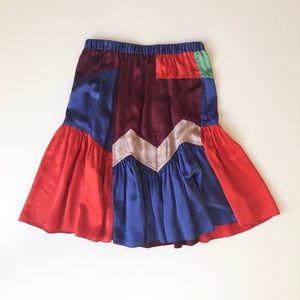 Silk patchwork skirt